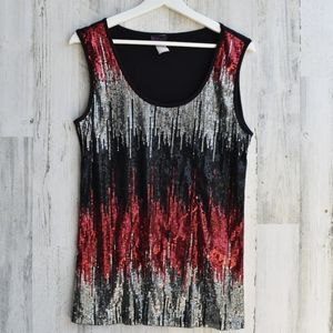 Agenda sequined pullover top tank black red silver